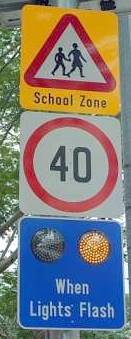 school zone: different speed limits of Singapore roads